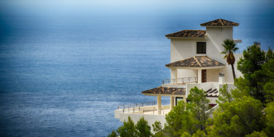 Large villa in Spain by the sea with balconies